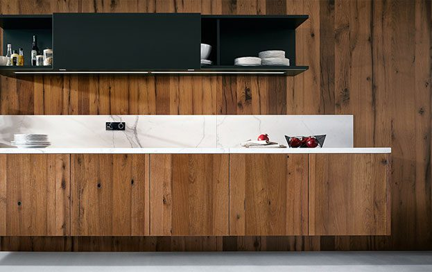 Galley Kitchen Wood Panel